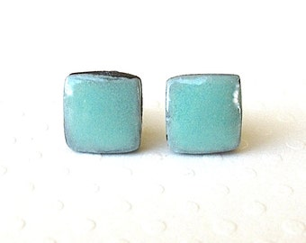 Small Stud Earrings. Square. Turquoise. Black Porcelain. Aqua. Blue-Green. Cyan. Clay. Ceramic. Surgical Steel. Post. Minimalist. Cube