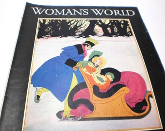 Original 1931 Winter Snow Vintage Womans World Magazine Cover Illustration Christmas Wall Art Poster Wall Hanging 30s Print Naptha Soap Ad