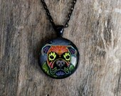Day of the Dead Boxer Sugar Skull Cameo Necklace