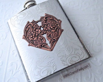 Big Flask Copper Heart Flask Gothic Victorian Flask Vintage Inspired Silver Plated Stainless Steel Woman's Steampunk Flask Woman's Flask