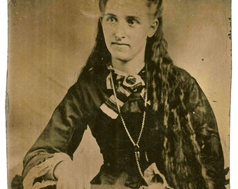 Unusual Long Haired Woman - Antique Tintype