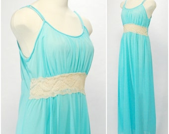 Vintage Long Nightgown, Turquoise Goddess Nightgown, Blue Full Length Night Gown with Cream Lace Empire Waist, Size M Lingerie