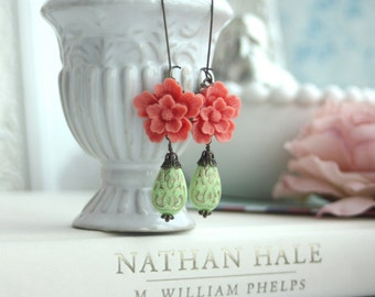 Coral Sakura, Lime Green Ornate Beads with Gold Inlay Ornate Lucite Beads Earrings. Maid of Honor. Bridesmaid Gifts.