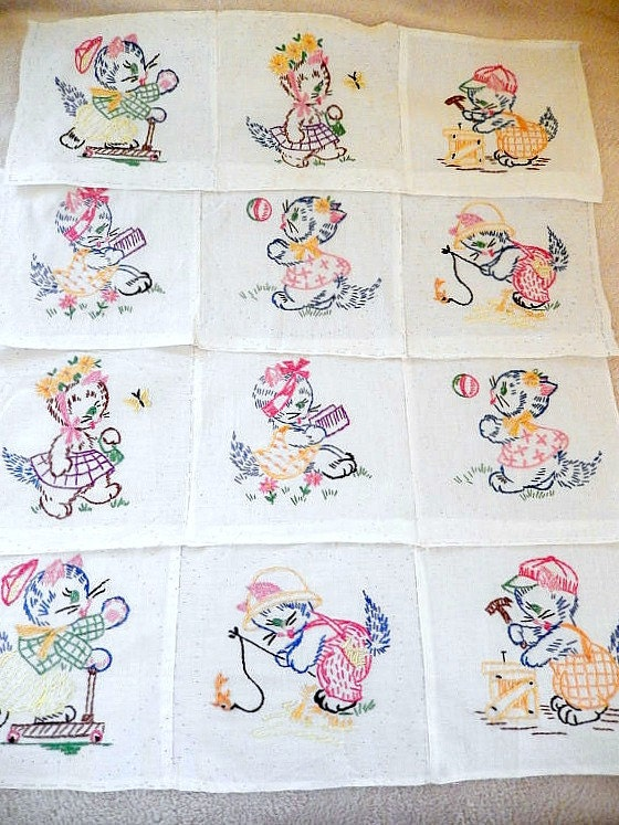 vintage quilt blocks 12 hand embroidered nursery quilt