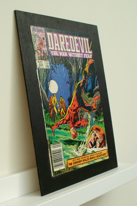 Comic Book Cover Wall Art : Guy gift wall art upcycled room decor vintage daredevil