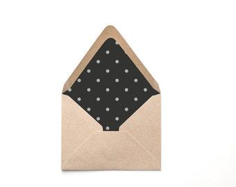 Printable Custom Envelope Liner Template, Black and Creme Polka Dot, Multiple Sizes