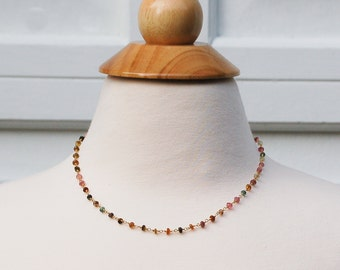 Gemstone Necklace Watermelon Tourmaline Stones Layering Necklace 14K Gold Rainbow Bohemian