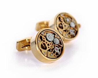 Gold Watch Cufflinks - Watch Movement Cufflinks - Wind up - Ticking