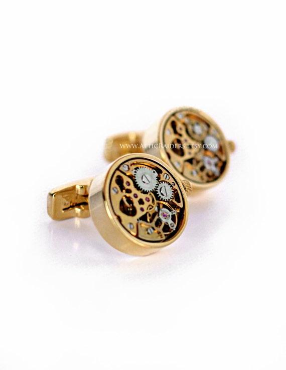 Gold Steampunk Cufflinks - Watch Movement Cufflinks - Wind up - Ticking