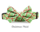 Plaid Dog Collar Bow Tie Set - Christmas Plaid - Made to Order in Your Choice of Size