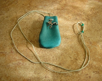 "Frog pouch ~ Turquoise Leather medicine bag with 28"" long beaded, adjustable hemp neck cord and a frog charm 2.5"" x 1.5"""