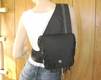 """Saddle Bag,  Backpack in Espresso deerskin leather with fringe, 3 zipper pockets, adjustable  cross body - sling strap 8"""" x 7.75"""" x 2"""""""