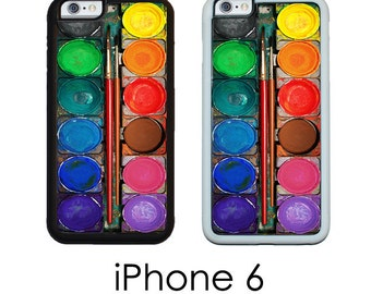 iPhone 6S 6 or PLUS Watercolor Paints Rainbow Artists Paint Set Image Phone Case Trim Choice Hard, Rubber or Tough Cases Available
