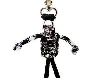 Zipper Zombie, Paracord Zipper Pull, Paracord Keychain - Black and White Paracord Skeleton, Skeleton Parabuddy
