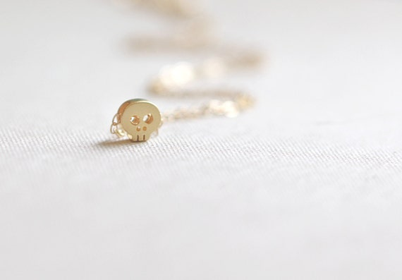 Mini Gold Skull Necklace 14kt  Gold Filled Chain