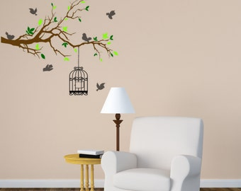 Tree branch wall decal, birdcage wall sticker, birds wall decal, tree wall sticker, large wall decal, bedroom wall sticker,  53 X 60 inches