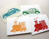 Greeting Cards - Transport Theme - Trains & Automobiles, Set of 3, Original Screenprinted Art