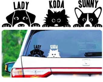 Custom dog decal - Any Breed  - Personalized - Your dog - Vinyl