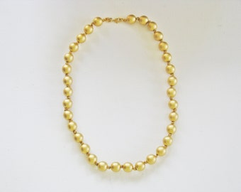 Vintage Monet Gold Tone Knotted Glass Bead Necklace (N-2-1)