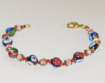 Millefiore Glass and Crystal Bracelet (BR-1-3)