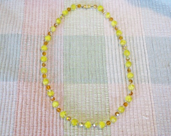 Vintage Long Yellow Givre Glass and Amber Crystal Necklace (N-1-3)