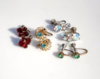 Vintage Screw Back Earrings: Jewel Brights