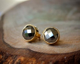 Pyrite Bezel Set Stud Post Earrings.....LIMITED EDITION