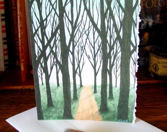 Winter Lane - Blank Greeting Card featuring Watercolors by Amy Crook - Trees Road Sky
