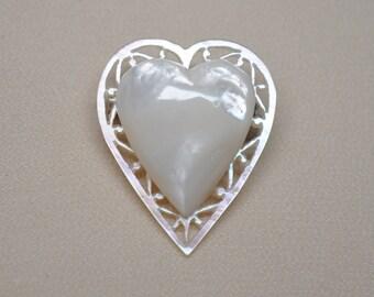Vintage Open Work Mother of Pearl Heart Hand Carved Bethlehem