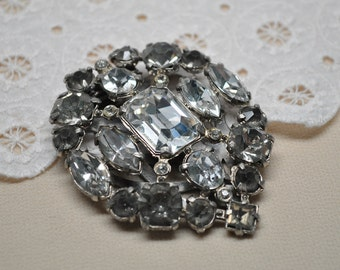 Large Vintage Dress Clip Silver Toned Metal and Rhinestones