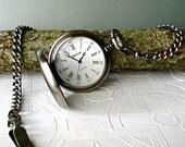 Pocket Watch Antique Silver Black Leather Roman Numerals Vintage Wedding 3rd Third Leather Anniversary Birthday Graduation Men's Gift SALE