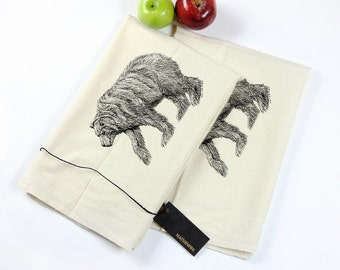 Pair of Eco-Friendly Flour Sack Tea Towels With Grizzly Bear Print - Housewares - Eco-Friendly