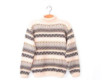 Nordic Sweater * Vintage Fair Isle Sweater * Wool Turtleneck Pullover * Large