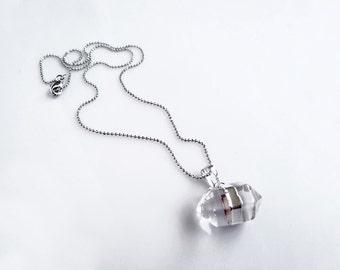 Quartz Point Necklace, Clear Quartz Point Necklace, Silver Dipped Quartz Pendant