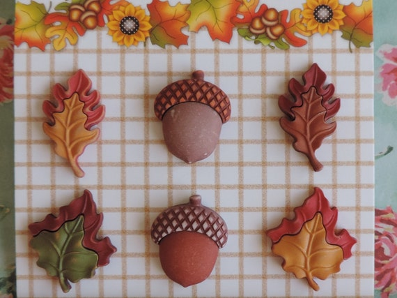"Fall Buttons, Leaves and Acorns, ""Seasons of Change"" by Buttons Galore, Style FA103, Carded set of 6, Shank Back Buttons, Fall Theme"