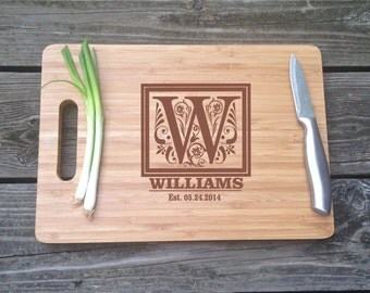 Cutting Board Monogrammed Large sized-  Personalized Engraved BAMBOO Cutting Board 13 X 9.75 X .5 Wedding Gift House Warming Gift Monogram