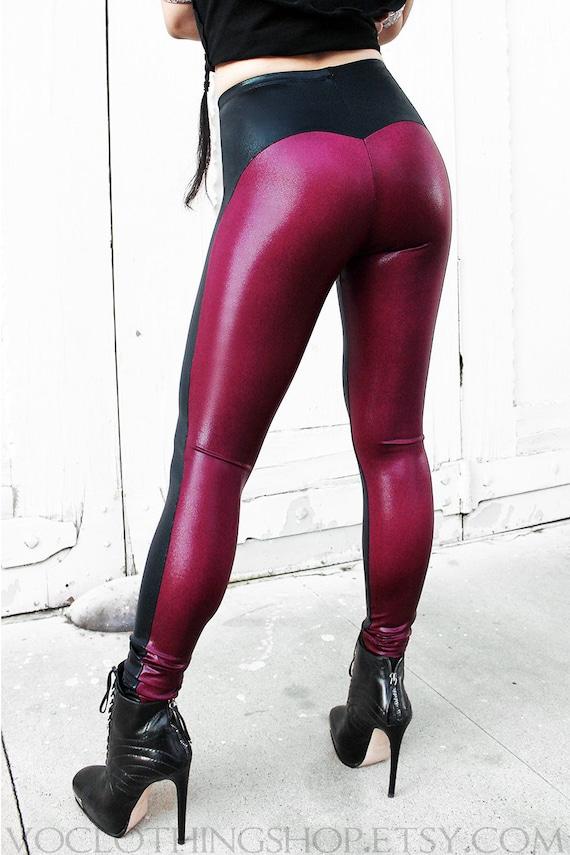 BLACK WIDOW leggings in metallic spandex
