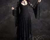SALE Annaleah Long Black Lace Gothic Wedding Dress - Size Medium - Ready to Ship