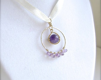 Amethyst Pendant, Gold, Wire Wrapped, 14K Gold Filled, Circle Necklace, Gemstone Jewelry, Genuine Amethyst, Purple, Lavender, Violet, 908