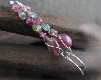 Baby Pink and Spring Green Tourmaline - Sterling Silver Elegant Hoop Earrings