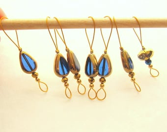 Bead Stitch Markers - Set of 7 Handmade Knitting Markers - Teardrop Blue/gold