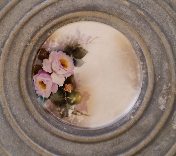 """Noritake Trivet, Green Mark, Hand Painted,  Circa 1920s, Lavender Roses, 6"""" Round, Tea Tile, Cottage, Shabby & Chic, Cottage Style, Tea Time"""