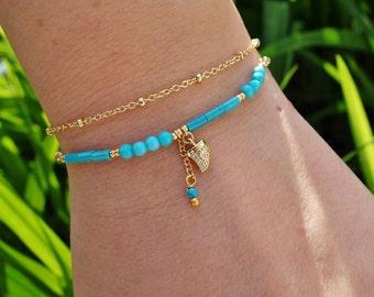 Turquoise Ivory Charm Bracelet