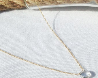 Crystal necklace - Clear Stone - Gold Filled Crystal Quartz Necklace - April Birthstone - Clear Birthstone