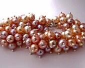 Natural Pink Pearl Bracelet, Pearl Cluster Bracelet