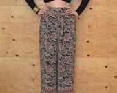 Vintage 80's Pants Sheer Paisley Wide Black Red & Cream Leg SZ M