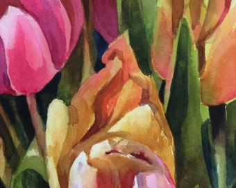 Tulips- Floral Watercolor ORIGINAL painting by SriWatercolors - 11 x 14 in