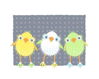 Bird Art Print, Animal Illustration, Children's Art, Baby Nursery Wall Decor, Animal Art for Kids Room, Quirky Print, yellow 21
