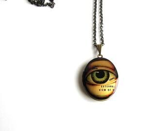 anatomical eye locket necklace . human eye jewelry . long chain necklace . gothic jewelry