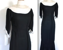 Vintage 1920s Dress // 20s 30s Black Crepe and Silk Chiffon Gown // Silent Film Star // DIVINE